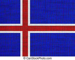 Flag of Iceland on old linen