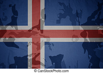 flag of iceland on the khaki texture . military concept