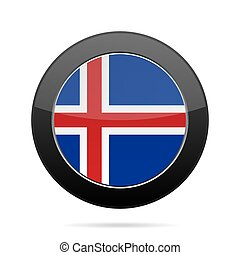 Flag of Iceland. Shiny black round button.