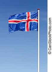 Flag of Iceland waving in the sky