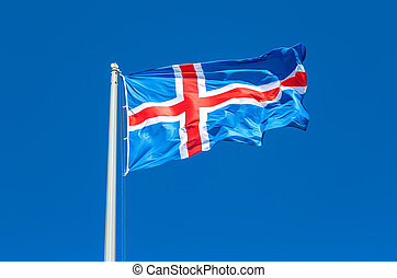 Flag of Iceland waving in the wind against the sky