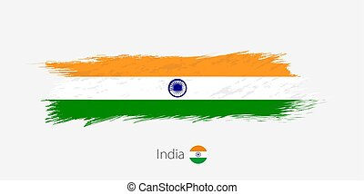 Flag of India, grunge abstract brush stroke on gray background.