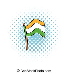 Flag of India icon in comics style