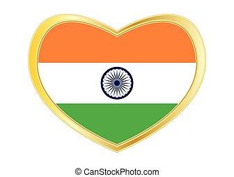 Flag of India in heart shape, golden frame