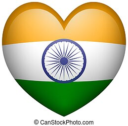 Flag of India in heart shape icon