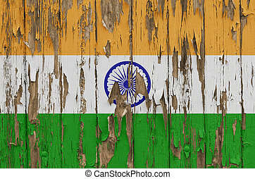 Flag of India on a weathered wooden wall