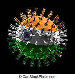 Flag of India on Covid-19 is virus concept. 3D rendering