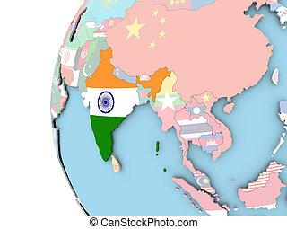 Flag of India on political globe