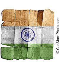 Flag of India on the old paper.