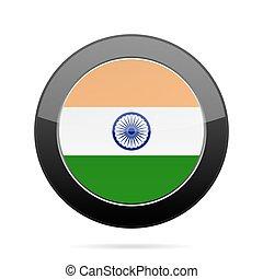 Flag of India. Shiny black round button.