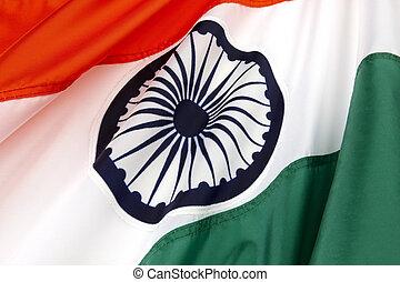 Flag of India - Close-up shot of wavy Indian flag