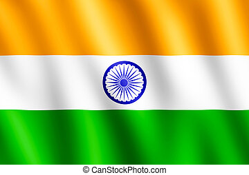 Flag of India waving in the wind giving an undulating...