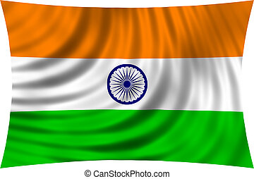 Flag of India waving in wind isolated on white