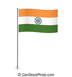 Flag of India waving on a metallic pole.