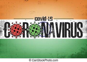 Flag of India with coronavirus covid-19