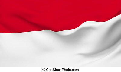 Flag of the Indonesia waving in the wind. Seamless loop