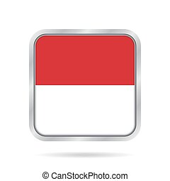 Flag of Indonesia. Metallic gray square button.