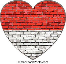 Flag of Indonesia on a brick wall in heart shape