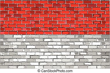 Flag of Indonesia on a brick wall