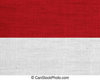 Flag of Indonesia on old linen