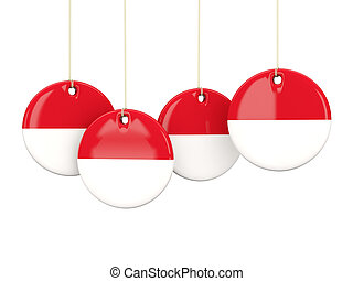 Flag of indonesia, round labels