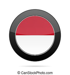 Flag of Indonesia. Shiny black round button.