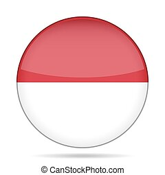 Flag of Indonesia. Shiny round button.
