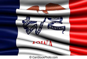 Flag of Iowa, USA. Close up.