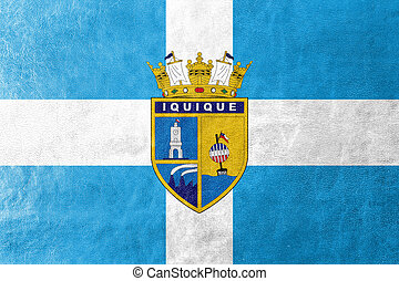 Flag of Iquique, Chile, painted on leather texture