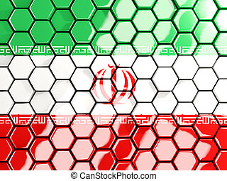 Flag of iran, hexagon mosaic background