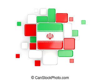 Flag of iran, mosaic background