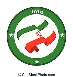 Flag of Iran on a label