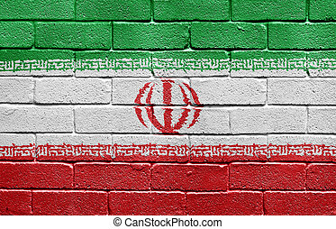 Flag of Iran on brick wall - Flag of Iran painted onto a...