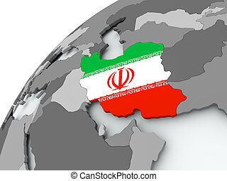 Flag of Iran on grey globe