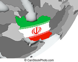 Flag of Iran on map