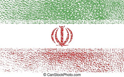 Flag of Iran with old texture. Vector illustration
