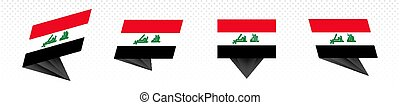 Flag of Iraq in modern abstract design, flag set.