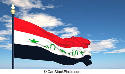 Flag Of Iraq on the background of the sky and flying clouds.