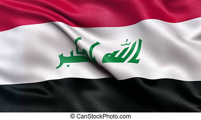 Flag of Iraq seamless loop - Realistic flag of Iraq waving...