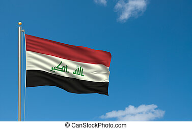 Flag of Iraq with flag pole waving in the wind on front of...