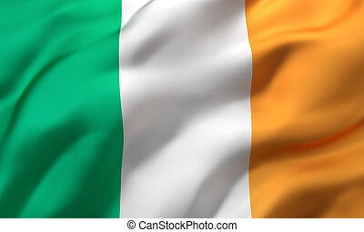 Flag of Ireland blowing in the wind