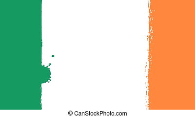 Flag of Ireland - Drawing Irish Flag by Brush Strokes