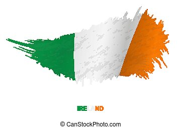Flag of Ireland in grunge style with waving effect.
