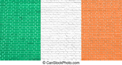 Flag of Ireland on brick wall texture background