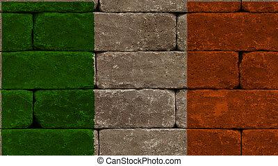 flag of ireland on bricks - flag of ireland on old bricks ...