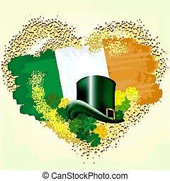 Flag of Ireland on grunge heart