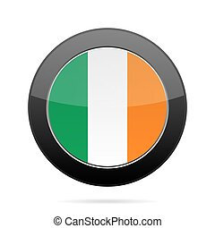 Flag of Ireland. Shiny black round button.