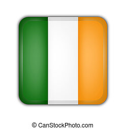 flag of ireland, square button on white background