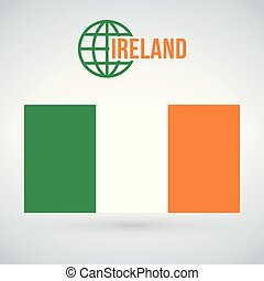 Flag of Ireland vector illustration isolated on modern background with shadow.