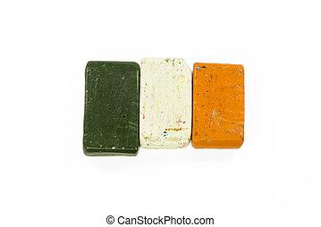 Flag of Ireland with wax crayon